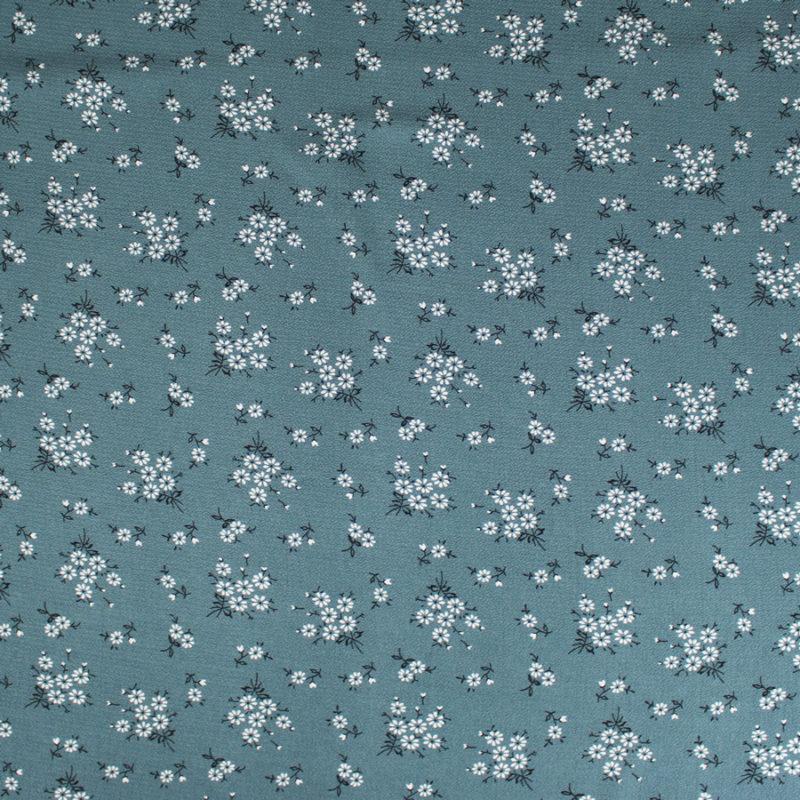 Tissu crêpe gaufré petites fleurs aquamarine