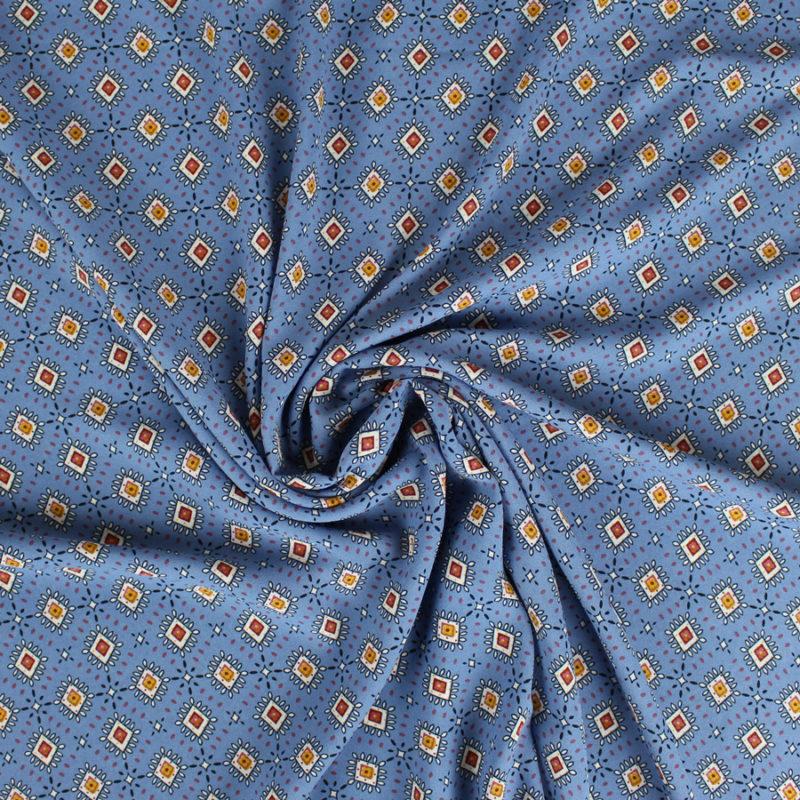 Tissu crêpe georgette à motifs losanges bleu