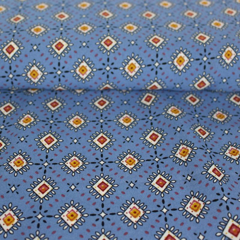 Tissu crêpe georgette à losanges bleu