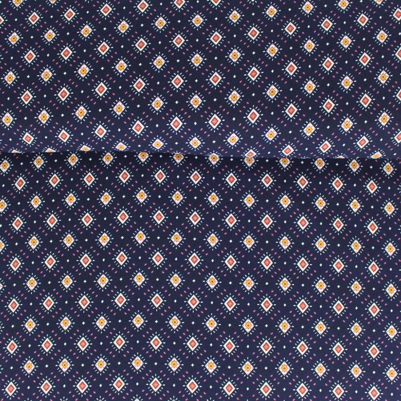 Tissu crêpe georgette à motifs losanges bleu marine