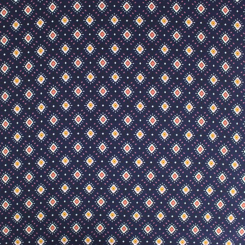 Tissu crêpe georgette à motifs losanges marine