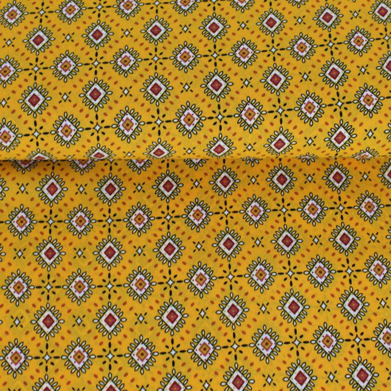 crêpe georgette à motifs losanges couleur safran