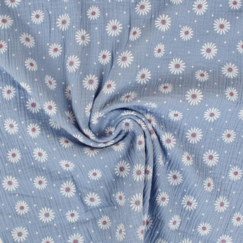 Tissu double gaze de coton marguerites bleu