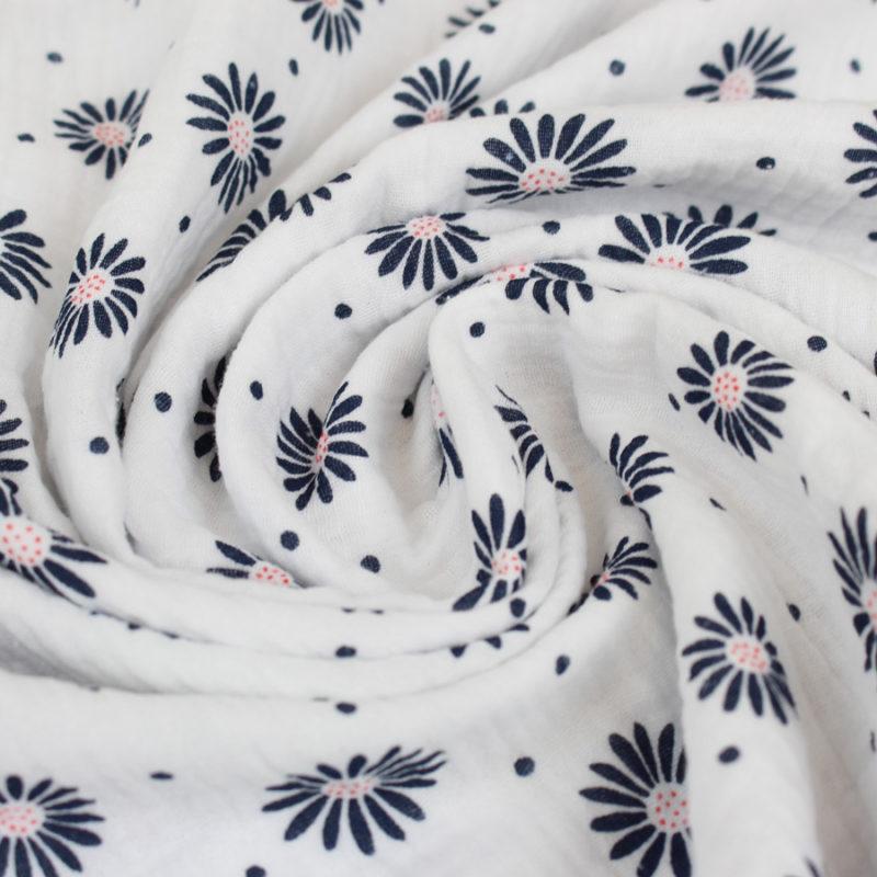 Tissu double gaze de coton marguerites blanc