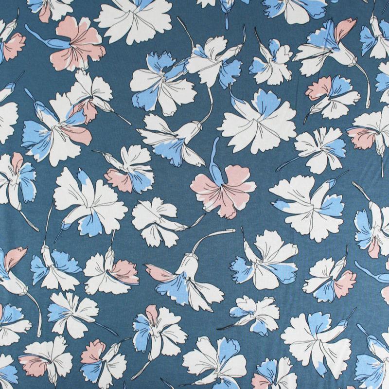 Tissu jersey de viscose fleurs marines bleues