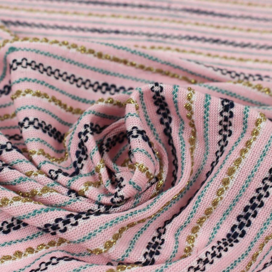 Tissu tricot rose et rayures magnifique