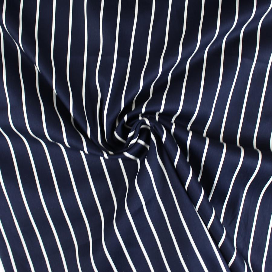 Satin de coton à rayures - bleu marine