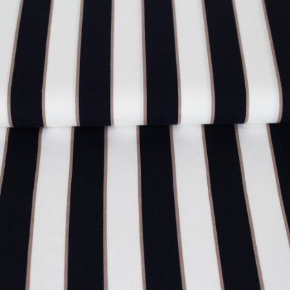 Viscose larges rayures - bleu blanc taupe