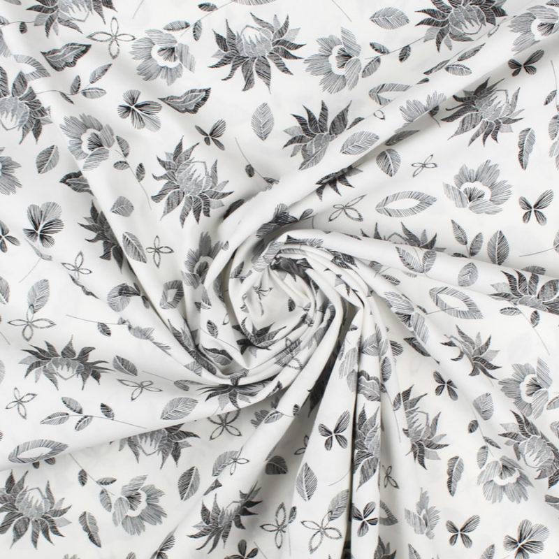Tissu Popeline Flower Kiss