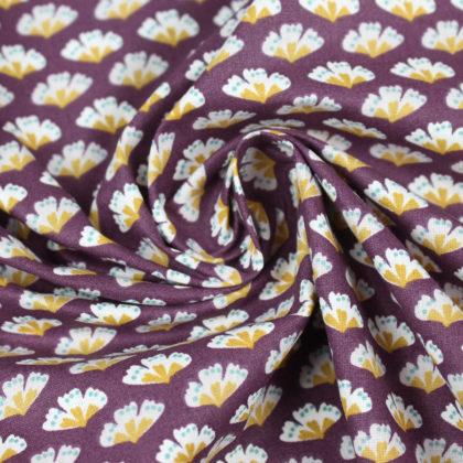Tissu Coton fleurs Sriko lie de vin