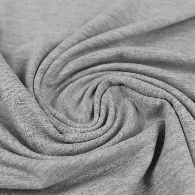Tissu Jersey de coton gris chiné