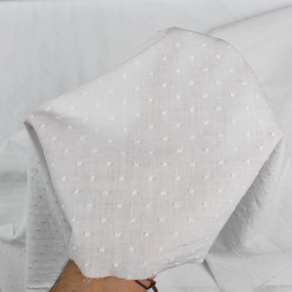 Tissu Coton plumetis uni blanc