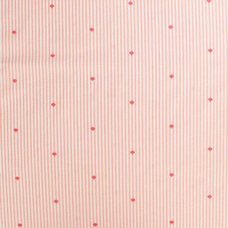 Tissu Popeline coton Ocean Stripes Corail - MounaSew