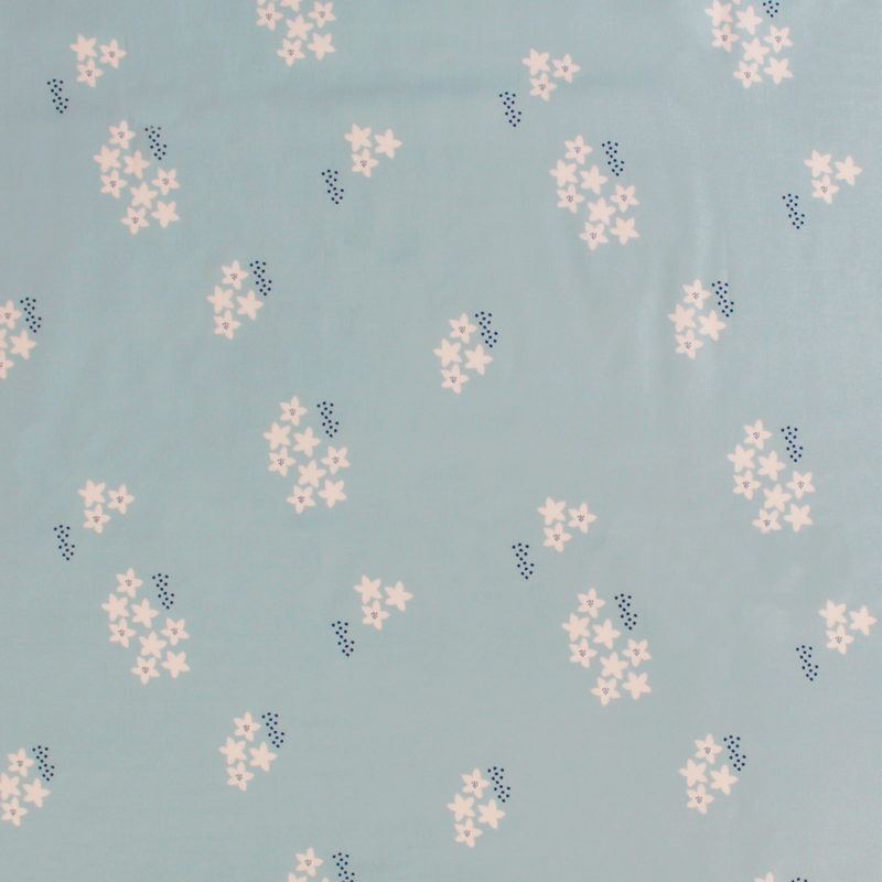 Tissu Viscose StarFlower MounaSew - bleu
