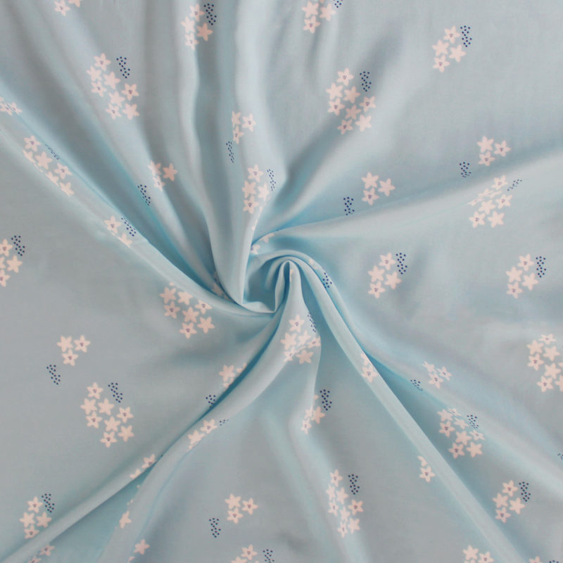 Tissu ViscoseStar Flower MounaSew - bleu