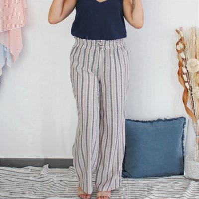 Kit couture pantalon Karma à rayures beiges