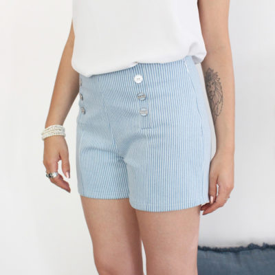Kit couture short Brooklyn denim à rayures