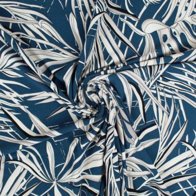 Tissu Crêpe Feuille bleu