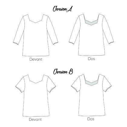 Dessin technique patron couture blouse mounasew