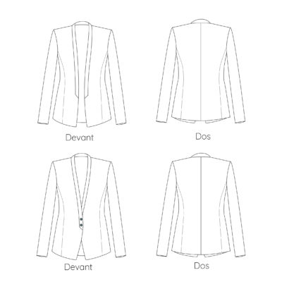 Dessins techniques patron couture veste monica
