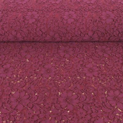 Tissu dentelle guipure fleurs d'Italie bordeaux