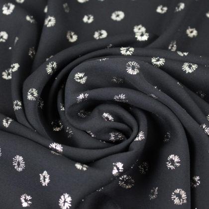 Tissu crepe fin noir brillant éclat de joie