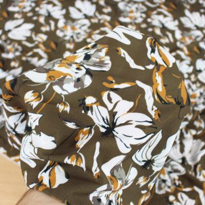 Tissu crepe grandes fleurs