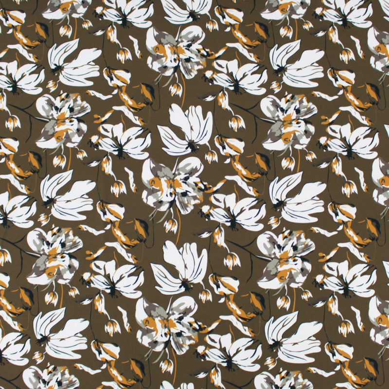 Tissu crepe gaufré grandes fleurs