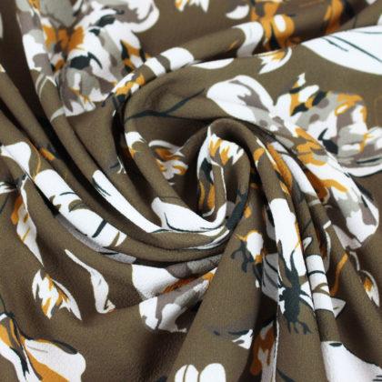 Tissu crepe gaufré grandes fleurs automne