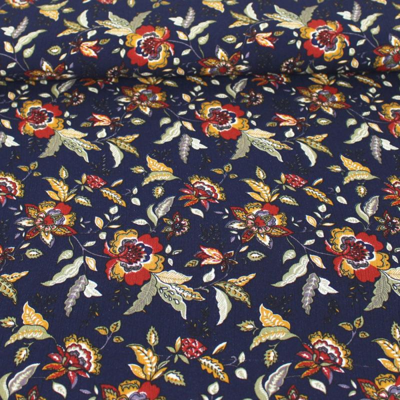 Tissu Crêpon fleurs d'automne - bleu marine
