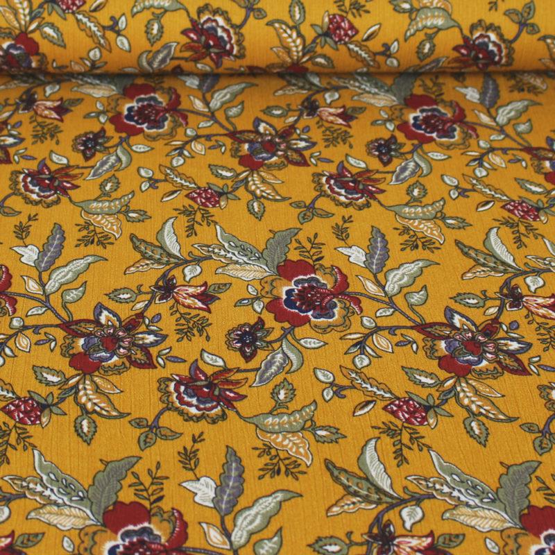 Tissu Crêpon fleurs d'automne - ocre