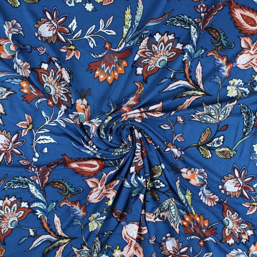 Tissu Jersey viscose bourgeons - bleu
