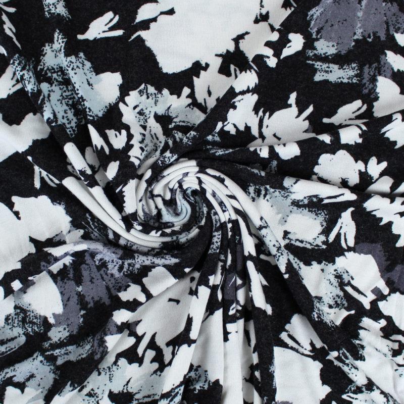 Tissu Maille à fleurs noires