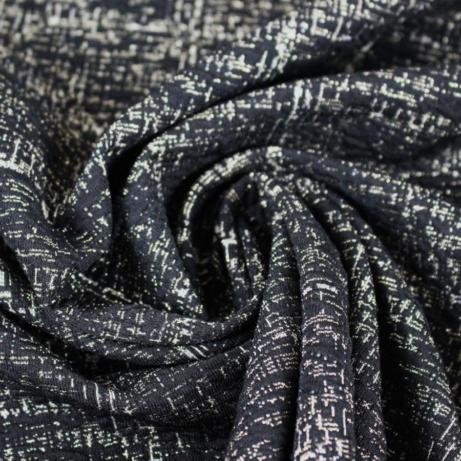 Tissu lurex noir à carreaux