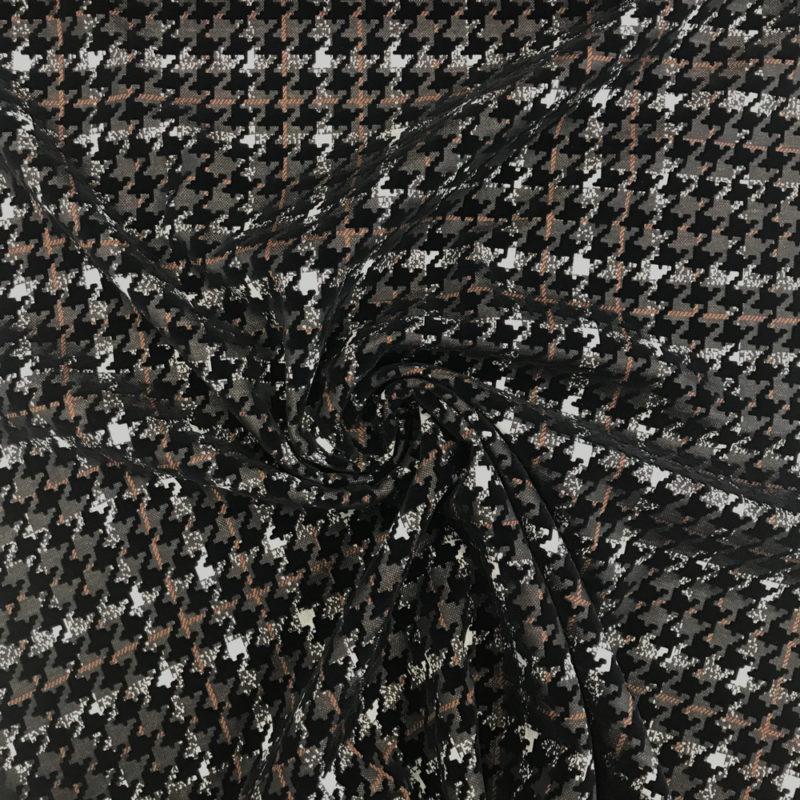 Tissu haut de gamme pied de coq noir