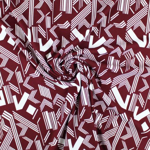 Tissu Crêpe géométrique bordeaux