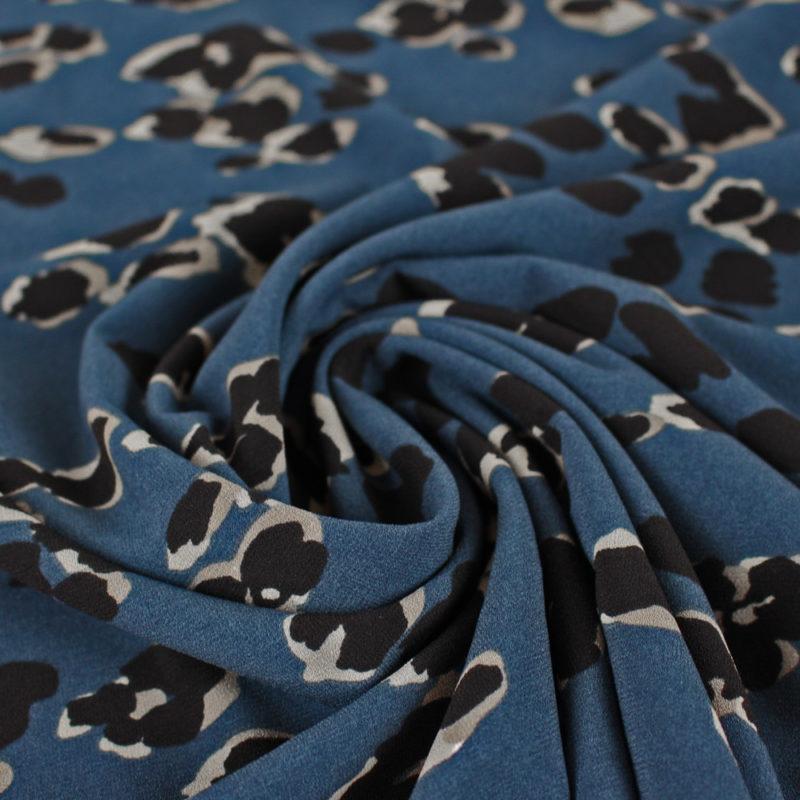 Tissu Crêpe tacheté - bleu