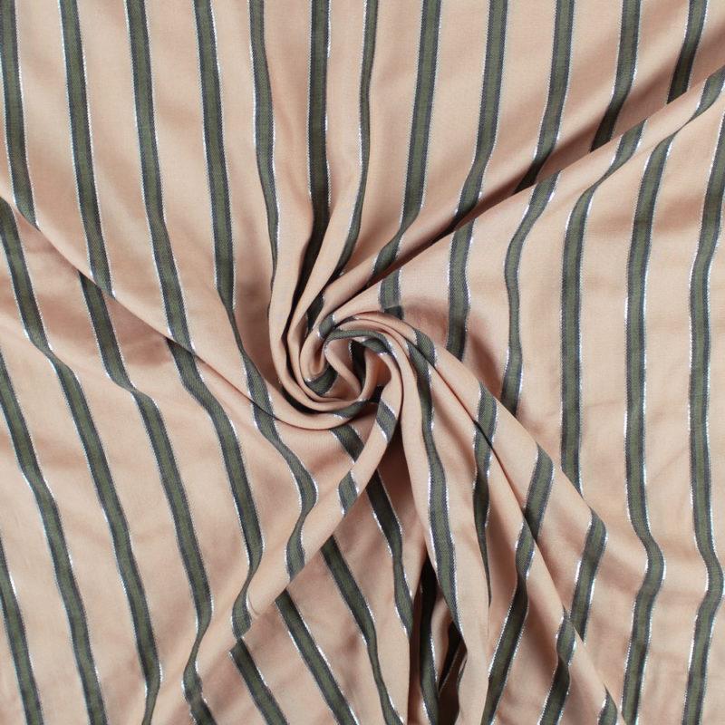Tissu Viscose twill à rayures lurex
