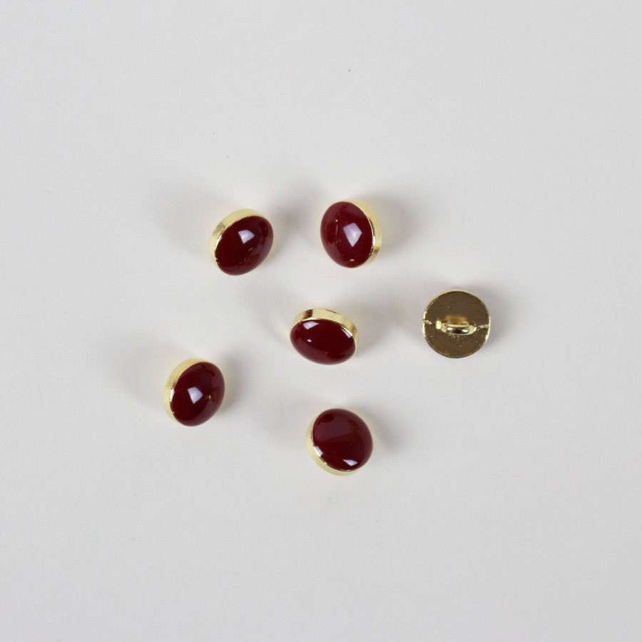 Bouton Elegant - bordeaux et doré 10mm