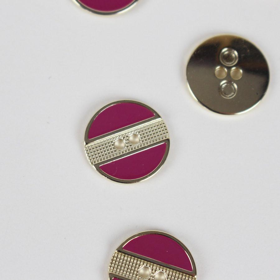 Boutons stripes framboise et doré 18 mm