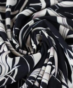 Tissu Crêpe Feuille - noir
