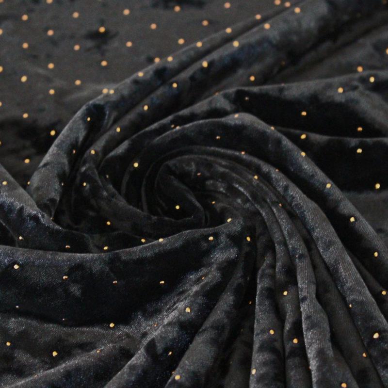 Tissu Velours noir à pois