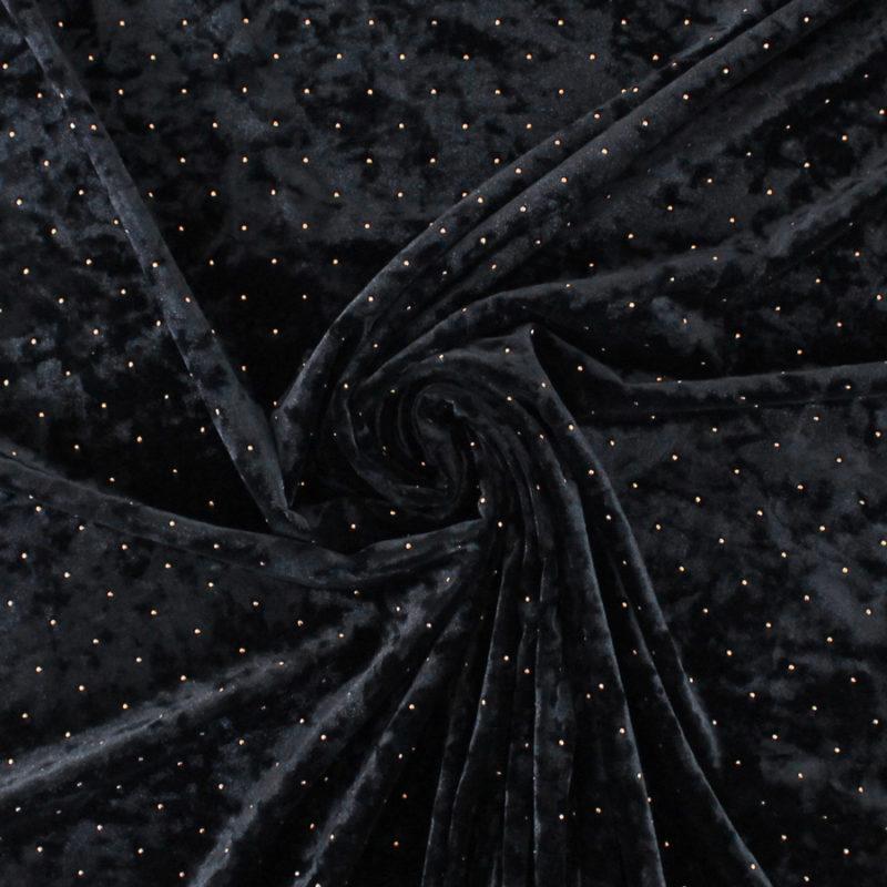 Velours noir à pois