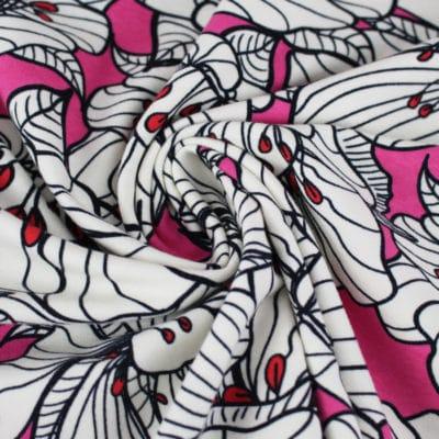 Tissu Jersey à fleurs fushia