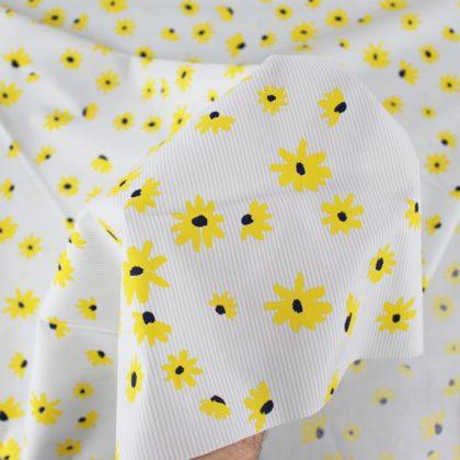 Tissu Popeline coton marguerites