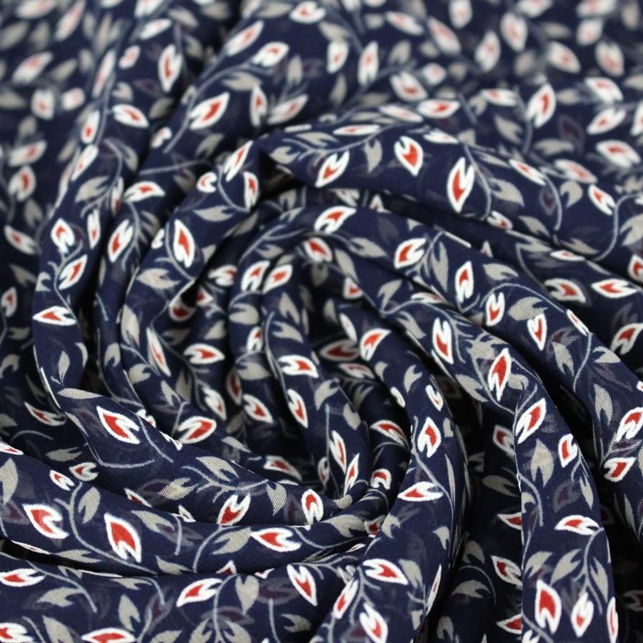 Voile petites fleurs reliefs - bleu