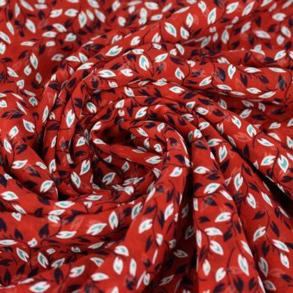 Voile petites fleurs reliefs - rouge