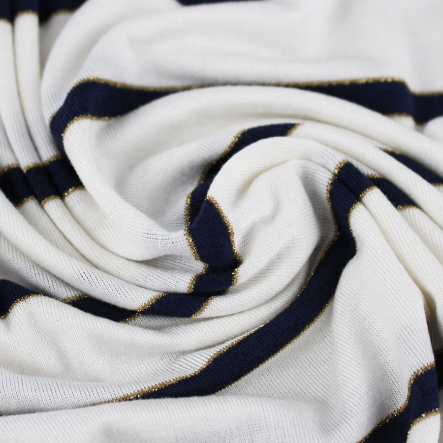 Tissu Jersey à rayures lurex - bleu marine