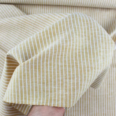 Lin viscose rayures 5mm - jaune