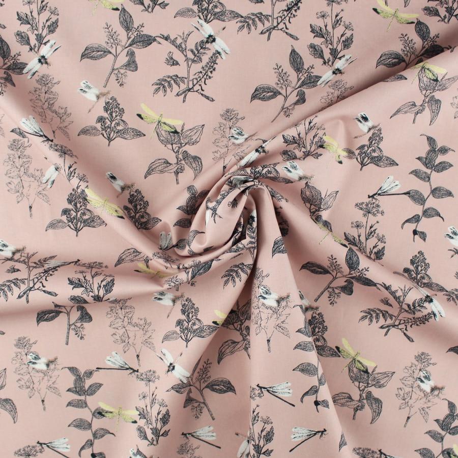Popeline Libellules - rose